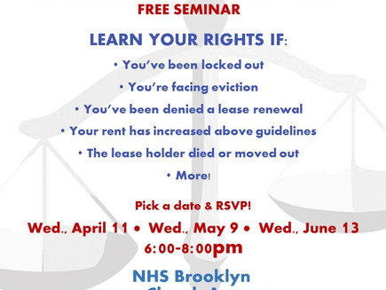 Free Tenants Rights Seminar this Wednesday!