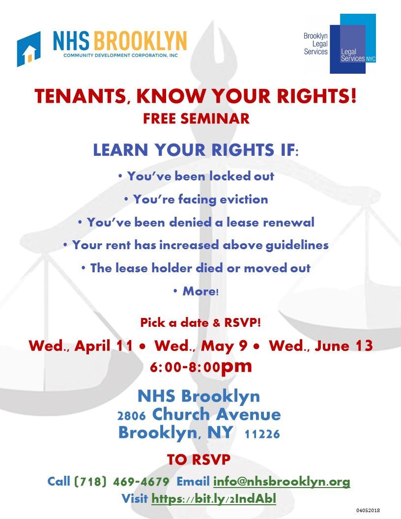 Free tenants rights seminar NHS Brooklyn Legal Services 2018
