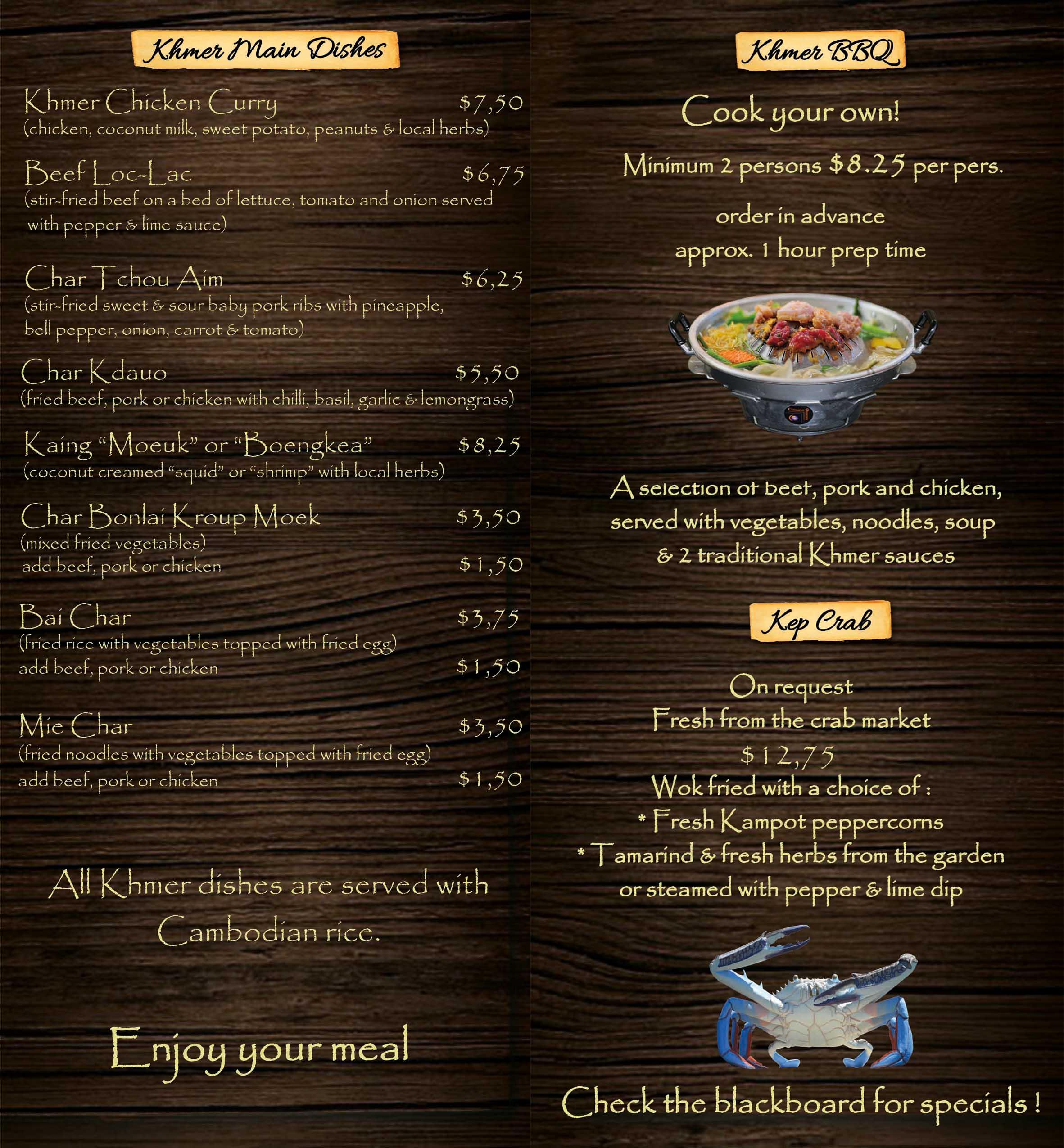 Khmer mains & BBQ