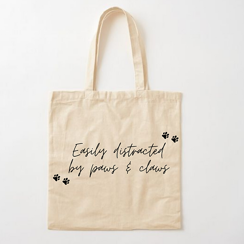 Easily Distracted by Paws & Claws Tote Bag