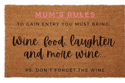 Mum's Rules Door Mat