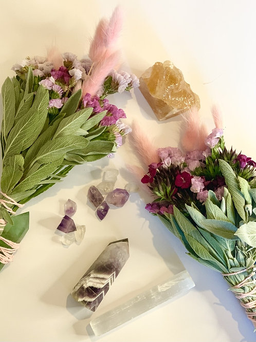 Sage + Floral Bunch with Crystals