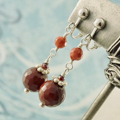 Ruby Quartz Clip-on Earrings