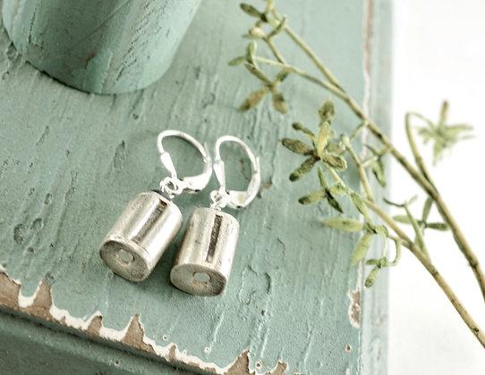 Silver Barrel Earrings