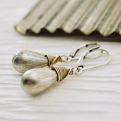 Brushed Silver Drop Earrings