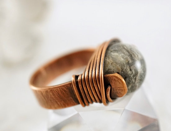 Silver Jasper Copper Ring