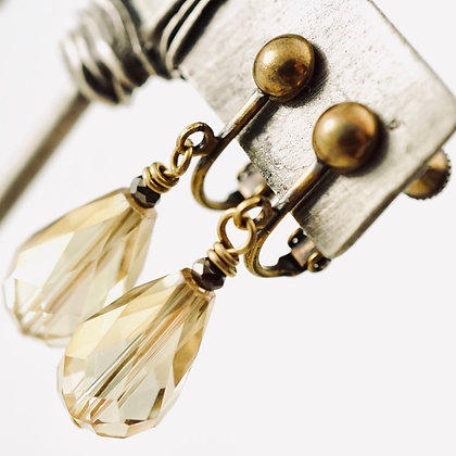 Champagne Crystal Clip-on Earrings