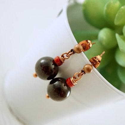 Garnet and Coral Earrings