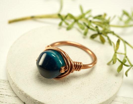 Blue Agate Copper Ring