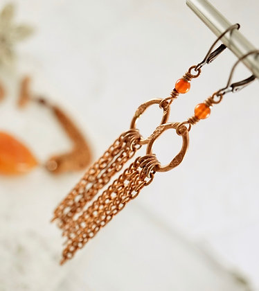 Boho-chic Copper Carnelian Earrings