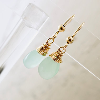 Petite Chalcedony Gold Earrings