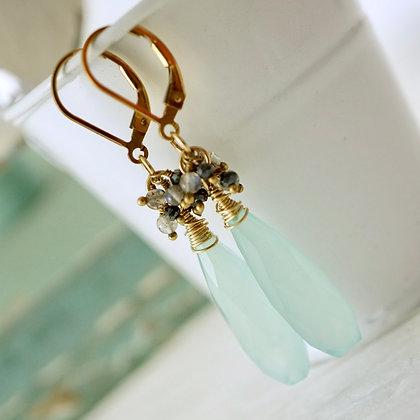 Aqua Chalcedony Long Drop Earrings