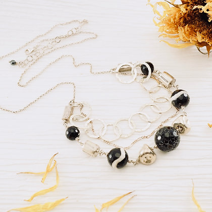 Three-Strand Black Onyx Necklace