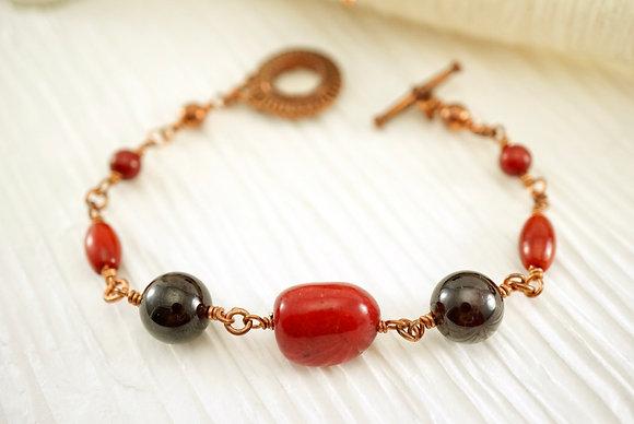 Coral and Garnet Bracelet