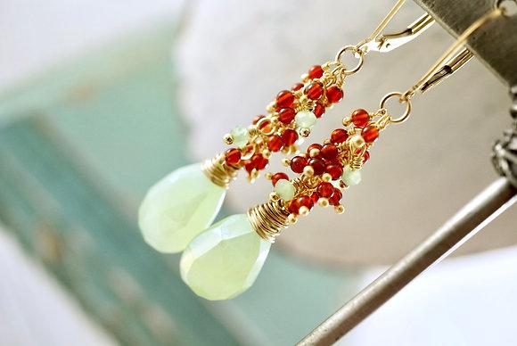 Green Chalcedony Cascade Earrings