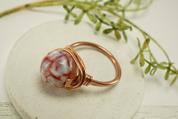 Fire Agate Copper Ring