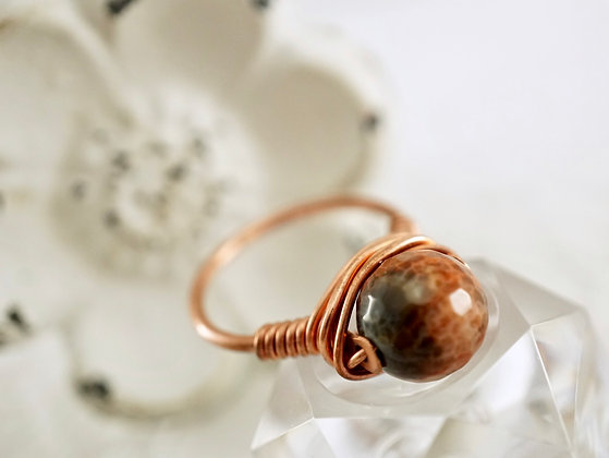 Copper and Agate Ring