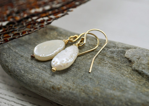 Natural Rare Flat Pear Shape Pearls Hang Elegantly From Gold Filled French Earwires