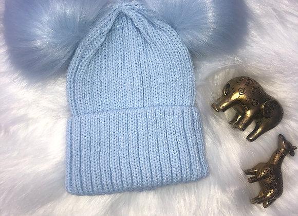 BLUE LARGE DOUBLE POM-POM HAT