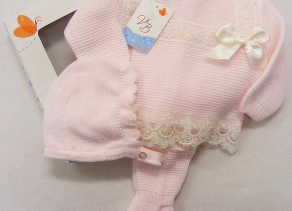 Knitted Pink bonnet set