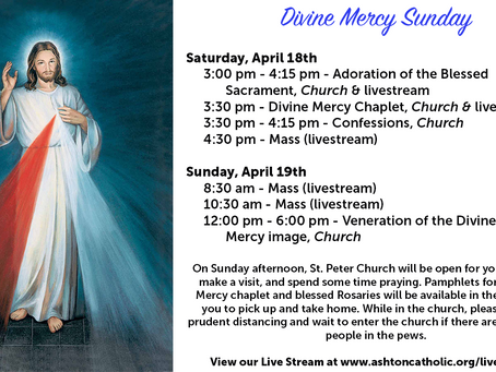 Divine Mercy Sunday and Parish Updates 04.17.2020