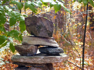A stone cairn found in our woods