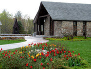 The Stone Chapel and plaza, in spring