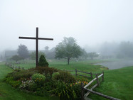 Cross garden at the approach of the monastery, in spring