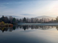 The mountains and front pond, in late autumn, at sunrise