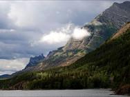 Mountains bordering Upper Waterton Lake