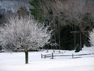 Cross garden in winter