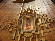 The image of Our Lady of Guadalupe at the basilica in Mexico City