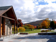 View East from the Stone Chapel plaza, in autumn