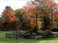 Cross garden in autumn