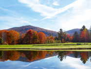 The mountains and front pond, in autumn, in the afternoon