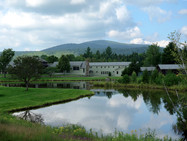 The monastery and front pond, in summer