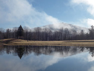 The mountains and front pond, in late autumn
