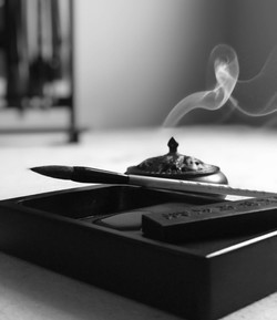 Inkstone with brush and incense burner