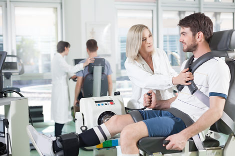 physicians with patients in a gym for ph