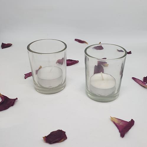 Glass Tealight Holders (pair)