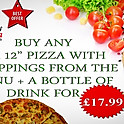 "Buy any 2x12"" Pizzas + 1 Bottle of drink"