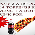 "Buy any 2x15"" Pizzas + A Bottle of Drink"