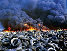 Tire pile on fire