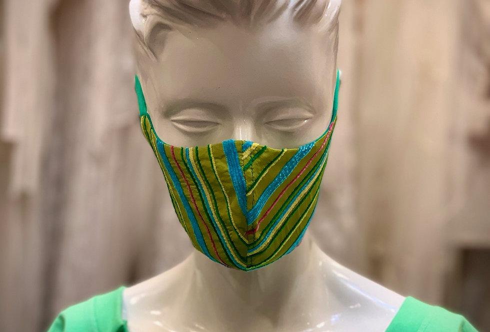 Streifen allover Maske XII Grün