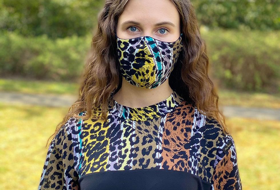 Baumwoll-Jersey Wende-Textilmaske II Wildkatze