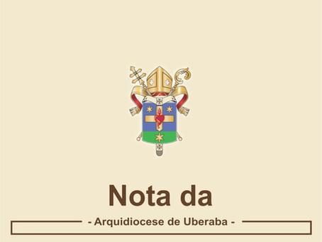 Arquidiocese de Uberaba sobre o decreto municipal Nº 172, de 28 de janeiro 2021