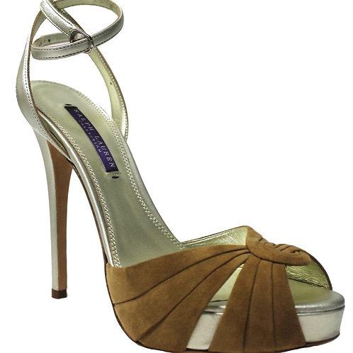 Ralph Lauren Womens Velvet Suede Leather Peep Toe Shoes Heels Purple Label Collection