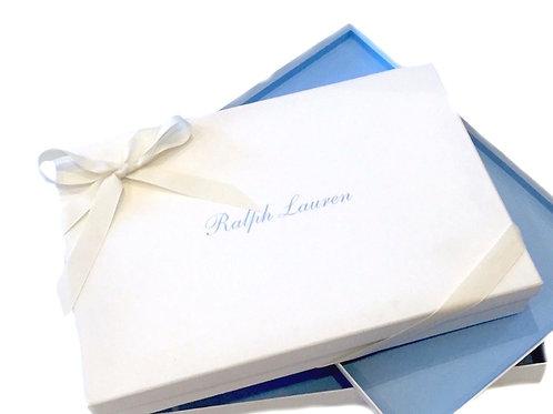 RALPH LAUREN Medium White Blue Font Rectangle Gift Box & Grosgrain Ribbon MU18
