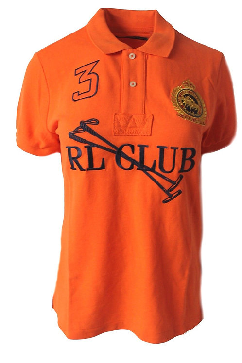 Womens Custom RL Club Top Tee T-shirt Mesh Crest Orange