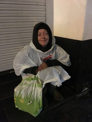 Homeless person gts help with food from Salma Food Bank